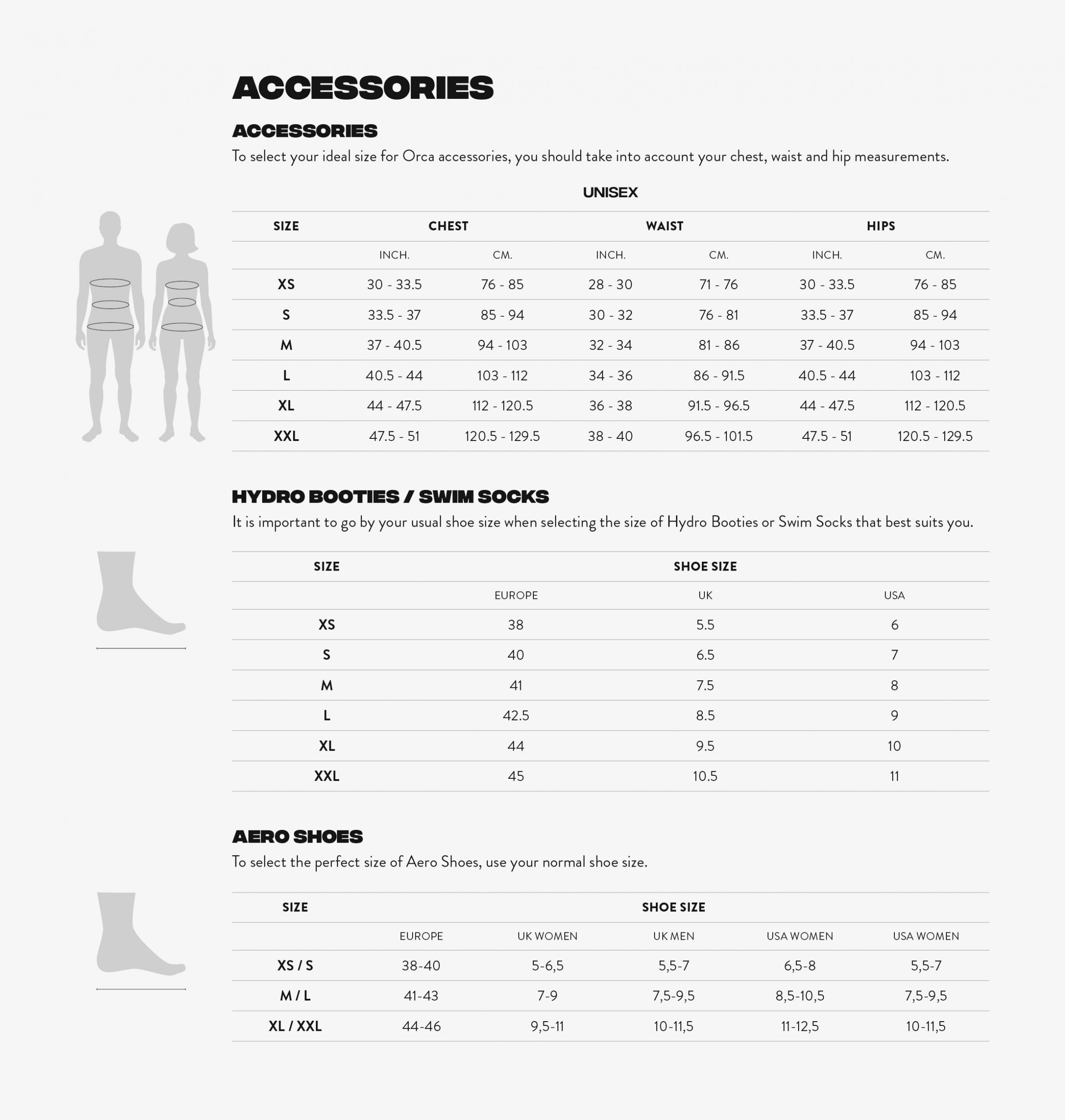 Size chart - Accessories